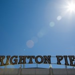 The famous Brighton Pier sign in the sunshine
