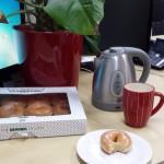 Doughnuts, tea and plant, Aldershot